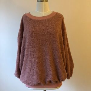Tops - Dusty Pink Shearling Boyfriend Sweatshirt